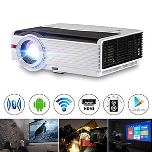 WiFi Projector, 5000 Lux Support Full HD 1080P Wireless Bluetooth LCD Video Airplay Projector with iPhone, Smartphone, Laptop, PC, TV Stick, PS4, DVD, HDMI, UB, VGA, AV for Home Outdoor Cinema