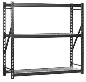 "Sandusky Lee 7224PRBWWD3 Black Heavy Duty Steel Welded Storage Rack, 3 Shelves, 2,000 lb. capacity per shelf, 72"" Height x 77"" Width x 24"" Depth (Pack of 4)"