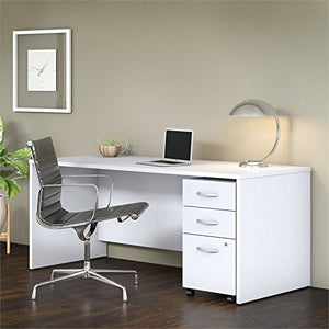 Studio C 72W x 30D Office Desk with Mobile File Cabinet in White