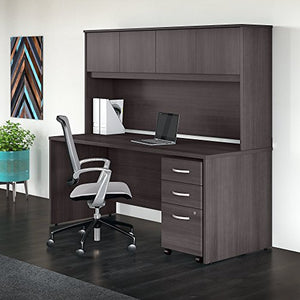 Studio C 72W x 30D Office Desk with Hutch and Mobile File Cabinet in Storm Gray