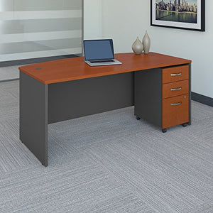 Bush Business Furniture SRC079AUSU Desk with Pedestal, Auburn Maple