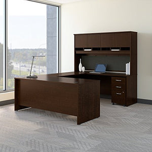 Bush Business Furniture Series C 72W U Shaped Desk with Hutch and Storage in Mocha Cherry