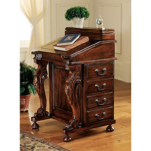 Design Toscano Captain's Davenport Home Office Desk, 33 Inch, Mahogany, Walnut