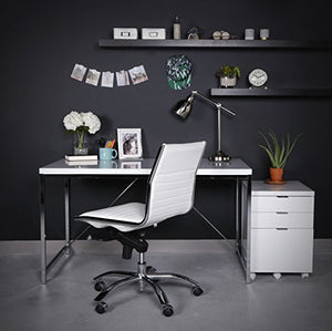 Eurø Style Gilbert High Gloss Lacquered Top Desk with Chromed Steel Frame, White