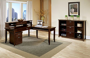 kathy ireland Home by Martin Tribeca Loft Cherry L-Shaped Writing Desk