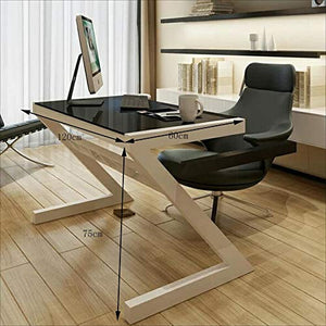 Folding Table NAN Liang Z-Shaped Tempered Glass Computer Desk Desktop Home Desk - 3 (Color : Black, Size : 1206075cm)