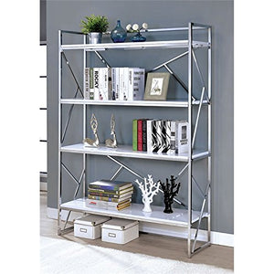 Furniture of America Bettallo 4 Shelf Bookcase in Chrome and White