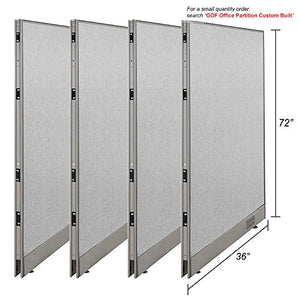"GOF [Large Quantity Orders] Office Single Partition Custom Built Workstation Wall Office Divider (4, 36"" w x 72"" h)"