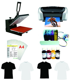 "15x15"" Flat Heat Press A4 Epson Printer Paper Ink CISS Start-up KIT T-shirts"