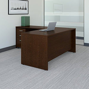 Bush Business Furniture Series C 66W L Shaped Desk with 48W Return and Mobile File Cabinet in Mocha Cherry
