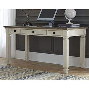 Ashley Furniture Signature Design - Bolanburg Home Office Desk - Casual - 3 Drawers - Weathered Oak/Antique White Finish - Black Hardware