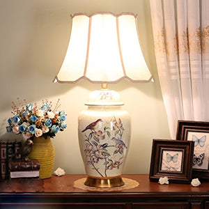 505 HZB Chinese Copper Ceramic Lamp, Bedroom Bedside Cabinet Lamp, Living Room Study Desk Lamp