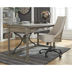 Ashley Furniture Signature Design - Adjustable Swivel Office Chair - Manual Tilt - Casual - Linen - Nailhead Trim