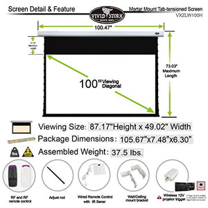 VIVIDSTORM Office Presentation Mortar Mount Tension Screen,Electric Drop Down Projector Screen,100-inch Diag 16:9, White Cinema Screen Material,Gain 1.1, Wireless 12V Projector Trigger,Model:VXZLW100H