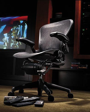 Aeron(R) Chair Highly Adjustable Model with Graphite Frame Classic Lead with Lumbar Support Size B