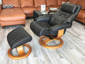 Fjords Mustang Large Leather Recliner Chair and Ottoman Norwegian Ergonomic Furniture Nordic Line Genuine Stone Leather Teak Wood