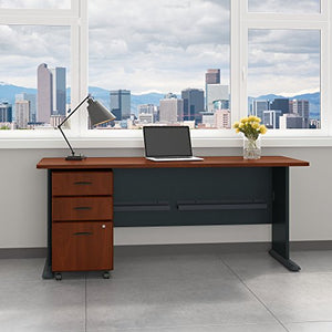 Bush Business Furniture Series A 72W Desk with Mobile File Cabinet in Hansen Cherry and Galaxy
