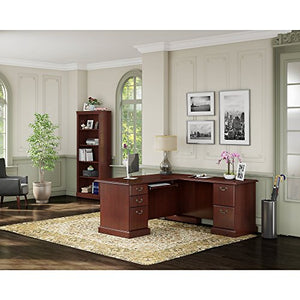 kathy ireland Home by Bush Furniture Bennington L Desk and Bookcase in Harvest Cherry