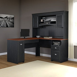 Fairview L Shaped Desk with Hutch in Antique Black