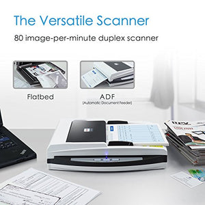Plustek PL4080 - High Speed Versatile Scanner, Flatbed + ADF All in one. with 50 Sheet Document Feeder and A4 Size Flatbed scan Special Design Suit for Multi Folded documents.