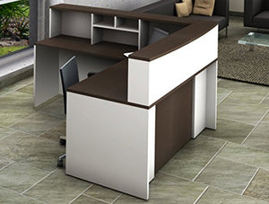 OfisLite 4 Piece Reception Desk Center Model 2137 Complete Group, White/Espresso
