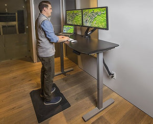 "Ergo Elements Height Adjustable Electric Standing Desk with 60"" Top 4 Memory Buttons LED Display, Black with Black Top"