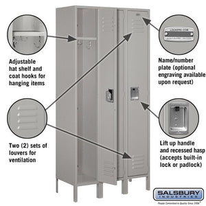Salsbury Industries 61365GY-U Standard Metal Locker Single Tier 3 Wide 6 Feet High 15-Inch Deep Gray Unassembled Gray