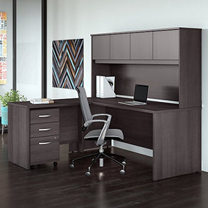 Studio C 72W x 30D L Shaped Desk with Hutch, Mobile File Cabinet and 42W Return in Storm Gray