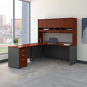 Bush Business Furniture Series C 72W Left Handed Corner Desk with Hutch and Mobile File Cabinet in Hansen Cherry