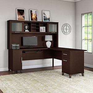 Bush Furniture Somerset 71W L Shaped Desk with Hutch in Mocha Cherry
