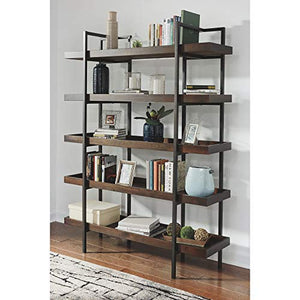 Ashley Furniture Signature Design - Starmore Bookcase - 5 Fixed Shelves - Contemporary - Blackened Gunmetal Frame - Rustic Brown Finished Shelves