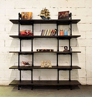 Eugene Modern Industrial 71-Inch Tall x 64-Inch Wide Large Storage 5-Shelf Pipe Bookcase Etagere Metal And Reclaimed Aged Finish With Sustainable Solid Wood (Dark Brown Stained wood)