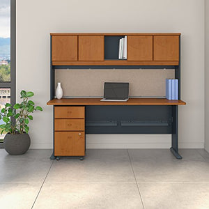 Bush Business Furniture SRA051NCSU Office Suite, Natural Cherry and Slate