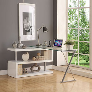 ComfortScape Writing Desk with Swivel Function, White