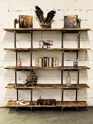 Furniture Pipeline Eugene Industrial vintage 64-inch Large Storage 5-shelf Pipe Bookcase Metal and Reclaimed/Aged Wood Finish