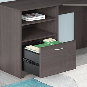 Cabot Corner Desk with Hutch, Lateral File Cabinet and 5 Shelf Bookcase
