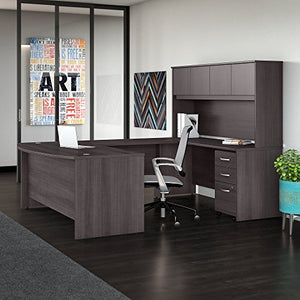 Studio C 72W x 36D U Shaped Desk with Hutch and Mobile File Cabinet in Storm Gray