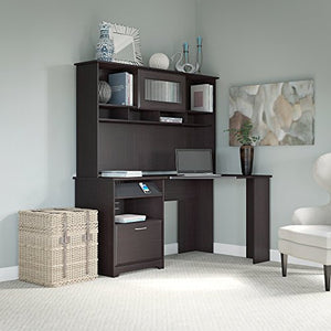 Bush Furniture Cabot Corner Desk with Hutch in Espresso Oak