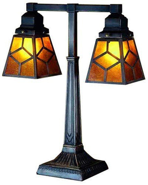 2-Arm Amber Mica Diamond Mission Desk Lamp