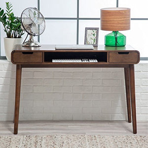 Brown Vintage Wood Writing Desk | Perfect Stylish Mid Century Home Office or College Student Dorm Table for Your Computer, PC, Laptop, Monitor, Books and Supplies