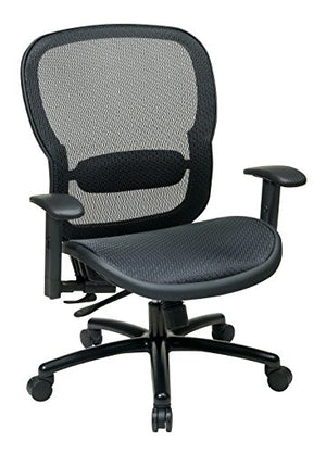 SPACE Seating Big and Tall Mesh Back and Seat, 2-to-1 Synchro Tilt Control Adjustable Arms and Lumbar Support with Black Base Managers Chair
