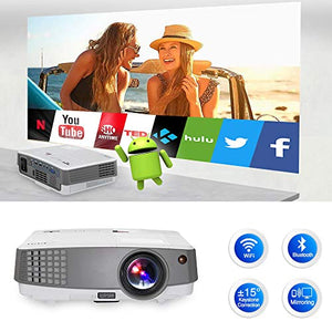 Android Movies Projector Bluetooth Portable Wireless WIFI Projector Support Full HD 1080p Mini Home Theater Pocket Family Cinema Mini Digital Projector HDMI USB for Outside Party DVD Player Video