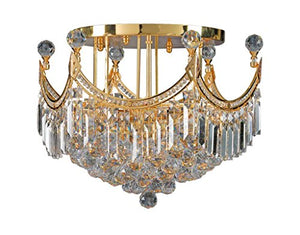 Artistry Lighting Corona Collection 1808X-2415 Steel/Crystal Flush Mount Gold Gold