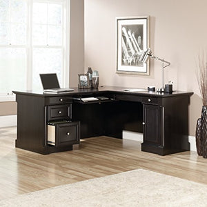 "Sauder 420791 Bleeker Street L-Desk, L: 73.25"" x W: 31.13"" x H: 7.75"", Obsidian Oak finish"