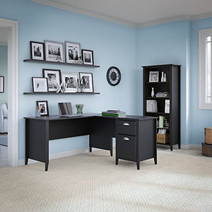 kathy ireland Home by Bush Furniture Connecticut 60W L Desk and Bookcase in Black Suede Oak