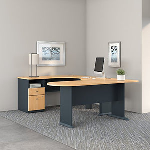 Series A U Shaped Corner Desk with Peninsula and Storage in Beech and Slate