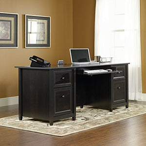 "Sauder 409042 Edge Water Executive Desk, L: 65.12"" x W: 29.53"" x H: 29.37"", Estate Black finish"