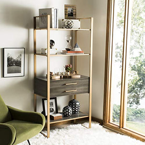 Safavieh ETG6204A Home Collection Skylar 4 Tier 1 Drawer Etagere, Gold/Grey
