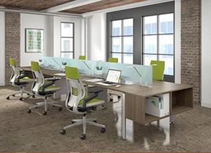 Steelcase Gesture Task Chair: Wrapped Back - Platinum Metallic Frame/Base/Seagull Accent - Adjustable Lumbar Support - Roll Control Hard Floor Casters