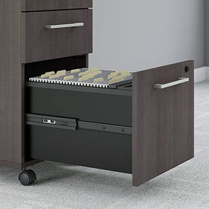 Bush Business Furniture 400 Series 72W x 30D Height Adjustable Standing Desk with Credenza and Storage in Storm Gray